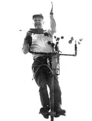 "Bob ""Fogseeker"" Cunningham fixing the anemometers."