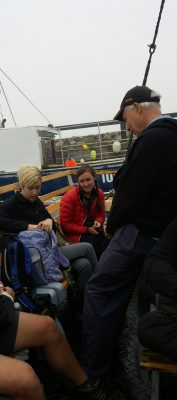 Peter Cunningham chatting with Delaney Ingalls and Peyton Stark on the Island Bound.